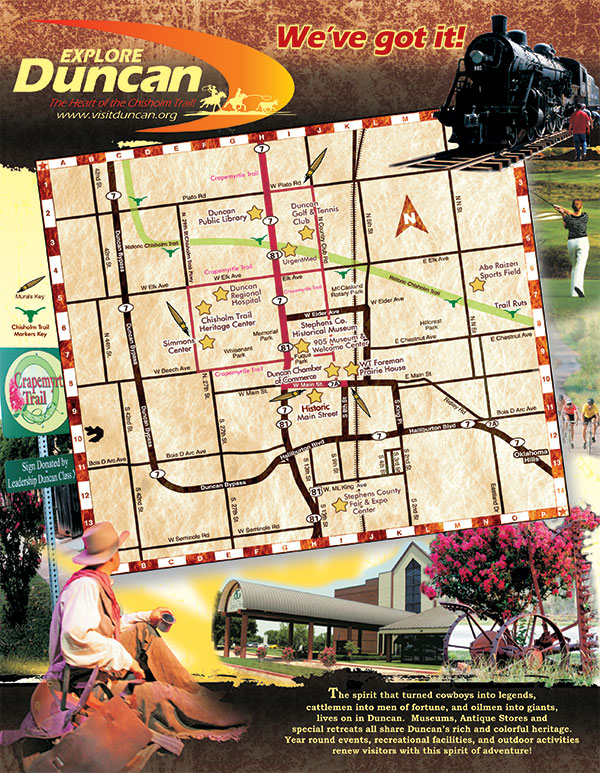 Visit Duncan OK Tear-off Map Brochure 2016 Cover